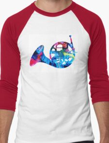 Colorful French Horn 2 - Cool Colors Abstract Art Sharon Cummings Men's Baseball ¾ T-Shirt
