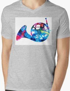 Colorful French Horn 2 - Cool Colors Abstract Art Sharon Cummings T-Shirt