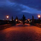 Charles Bridge at the break of dawn by silverfish