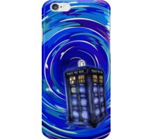 Blue Phone Box with Swirls iPhone Case/Skin