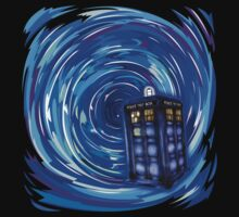 Blue Phone Box with Swirls Kids Tee