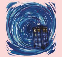 Blue Phone Box with Swirls Baby Tee