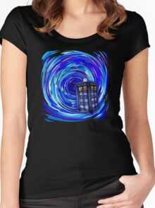Blue Phone Box with Swirls Women's Fitted Scoop T-Shirt