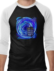 Blue Phone Box with Swirls Men's Baseball ¾ T-Shirt