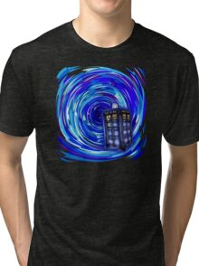 Blue Phone Box with Swirls Tri-blend T-Shirt