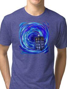 Blue Phone Box with Swirls Tri-blend T-Shirt