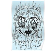 Layered Ghost Women Illustration Poster