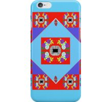 Smart Tech, Fashion and Home Accessories in Red and Turquoise Foulard Print iPhone Case/Skin