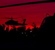 AH64D Apache Longbow Sunset Silhouette, Mosul, Iraq by Dan McGurk