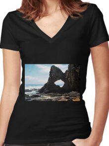 Australia Rock, Narooma Women's Fitted V-Neck T-Shirt