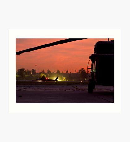 AH64D Longbow Apache Framed by Medevac UH60 Art Print