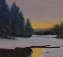 """Grout Pond Sunset - Near Stratton Mt."" by Edward Cating"