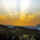 Sunset over The El Torcal Mountains Near Pastelero Spain by Mal Bray