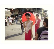 Thai Girl with Red Umbrella in Floral Float Parade. Art Print