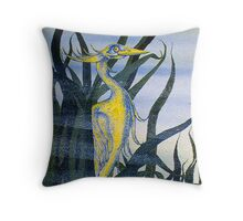 Heron in Reeds I Throw Pillow