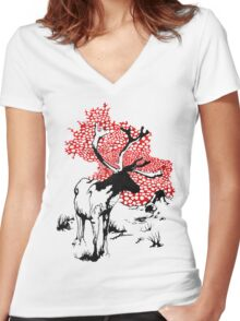 Reindeer drawing Women's Fitted V-Neck T-Shirt