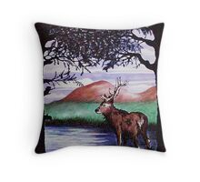Out of the Forest I `Red Stag' Throw Pillow