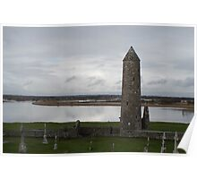 Round Tower at Clonmacnoise Poster