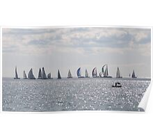 A colourful Yacht flotilla, glittery sea. Winters Day. Poster