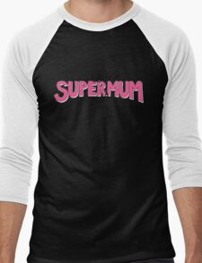 Super(tired)Mum in Pink and White Men's Baseball ¾ T-Shirt