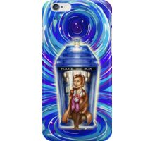 11th Doctor with Blue Phone box in time vortex iPhone Case/Skin