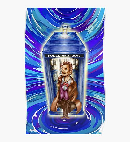 11th Doctor with Blue Phone box in time vortex Poster