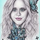 Flutterby, Butterfly, Blue eyes + Beads by Sarah ORourke
