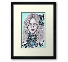 Flutterby, Butterfly, Blue eyes + Beads Framed Print