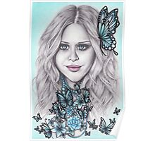 Flutterby, Butterfly, Blue eyes + Beads Poster