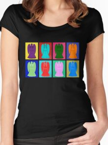 Weeping angels Pop Art Colour Women's Fitted Scoop T-Shirt