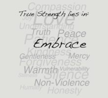 True Strength lies in Embrace - Light Background by Sheraline