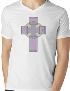 Celtic Cross--Lavender Pastel Tones Mens V-Neck T-Shirt