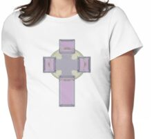 Celtic Cross--Lavender Pastel Tones Womens Fitted T-Shirt