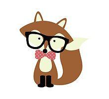 Red Bow Tie Hipster Fox by heartlocked