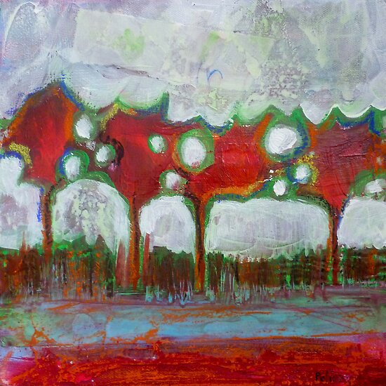 Winter Day Walk, mixed media on canvas by Sandrine Pelissier