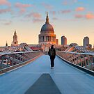 UK, London, St. Paul&#x27;s Cathedral and Millennium Bridge over River Thames   Alan Copson  2010 (20038-04) by Alan Copson