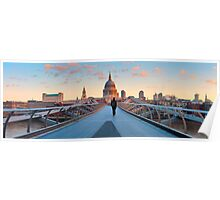 UK, London, St. Paul's Cathedral and Millennium Bridge over River Thames   Alan Copson © 2010 (20038-04) Poster