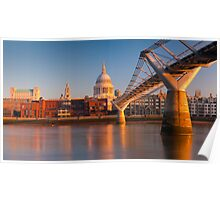 UK, London, St. Paul's Cathedral and Millennium Bridge over River Thames   Alan Copson © 2010  (20046-05) Poster