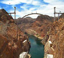 Hoover Dam Bypass Bridge, Colorado River by Eleu Tabares