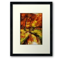 Autumn - By a little bridge - Painting Framed Print