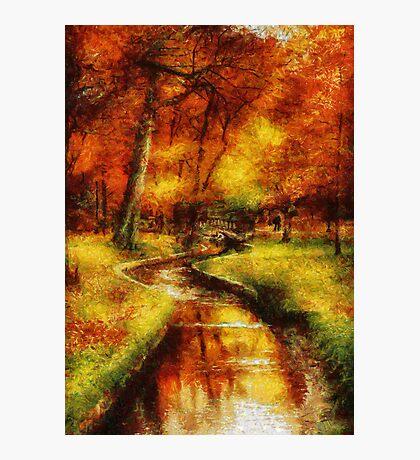 Autumn - By a little bridge - Painting Photographic Print