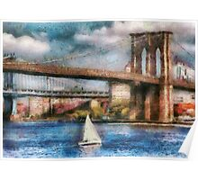 Boat - Sailing under the Brooklyn Bridge Poster