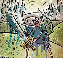 Adventure Time, Finn, Ice King, print, Children's Room , Wall Art, Cartoon Network, Art print, Fin, cartoon, TV, show, sword, blue blood, snow, mountains, backpack by Joe Badon