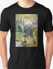 Adventure Time, Finn, Ice King, print, Children's Room , Wall Art, Cartoon Network, Art print, Fin, cartoon, TV, show, sword, blue blood, snow, mountains, backpack Unisex T-Shirt