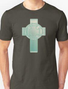 Celtic Cross Aqua/Ecru Bas Relief T-Shirt T-Shirt