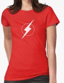 Simplistic Flash Symbol white Womens Fitted T-Shirt