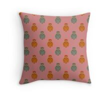 Retro Owls Throw Pillow