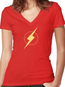 Simplistic Flash Women's Fitted V-Neck T-Shirt