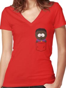 Pocket Token Women's Fitted V-Neck T-Shirt