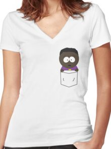 Pocket Token Women's Fitted V-Neck T-Shirt